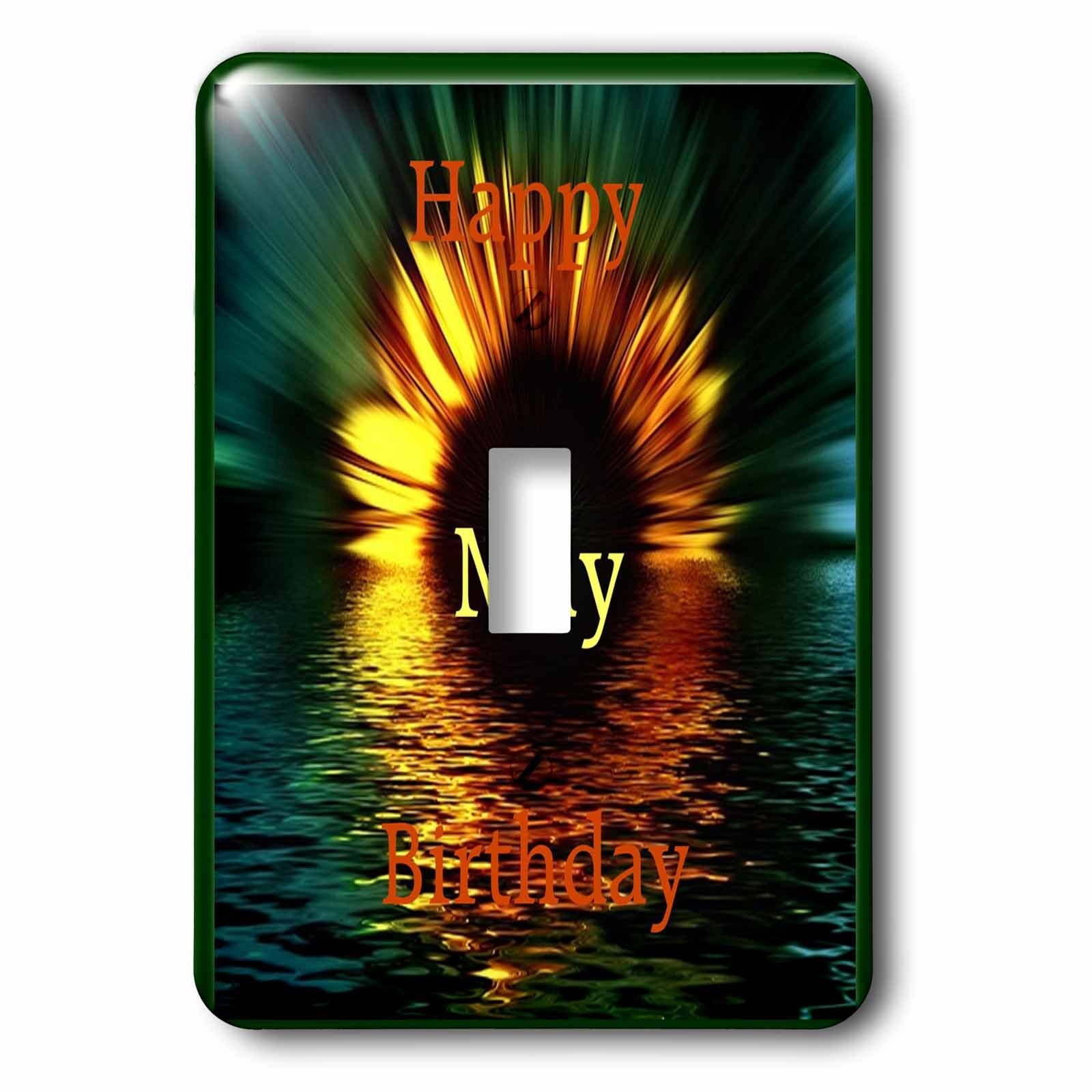 Florene Monthly Anniversary And Birthday Designs - Image of Happy May Birthday As Daisy Sinks In Sunset Water - Light Switch Covers - single toggle switch (lsp_243786_1)