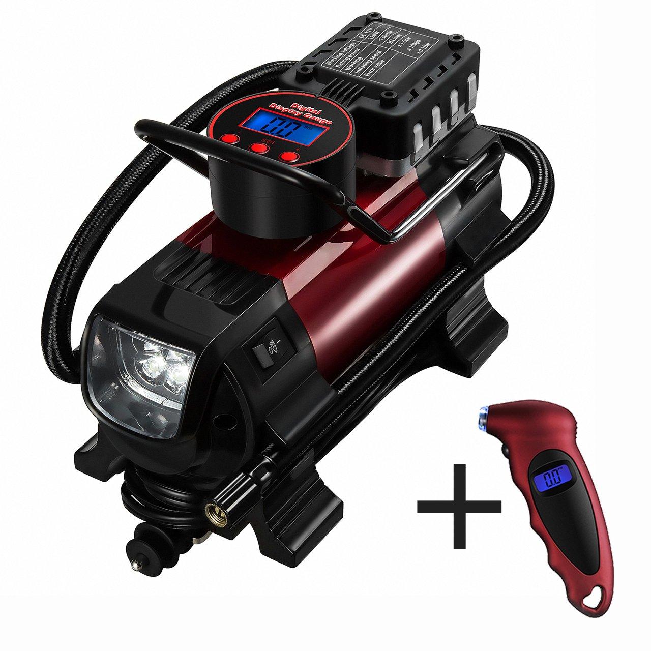 Compresor de aire de neumáticos metálico Portátil de OMorc Regalo incluye que