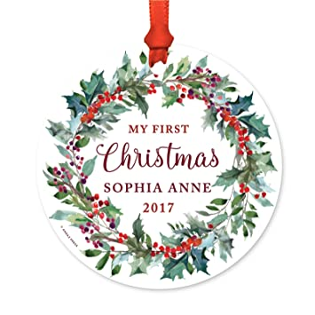 Amazon.com: Andaz Press Personalized Baby Metal Christmas Ornament ...