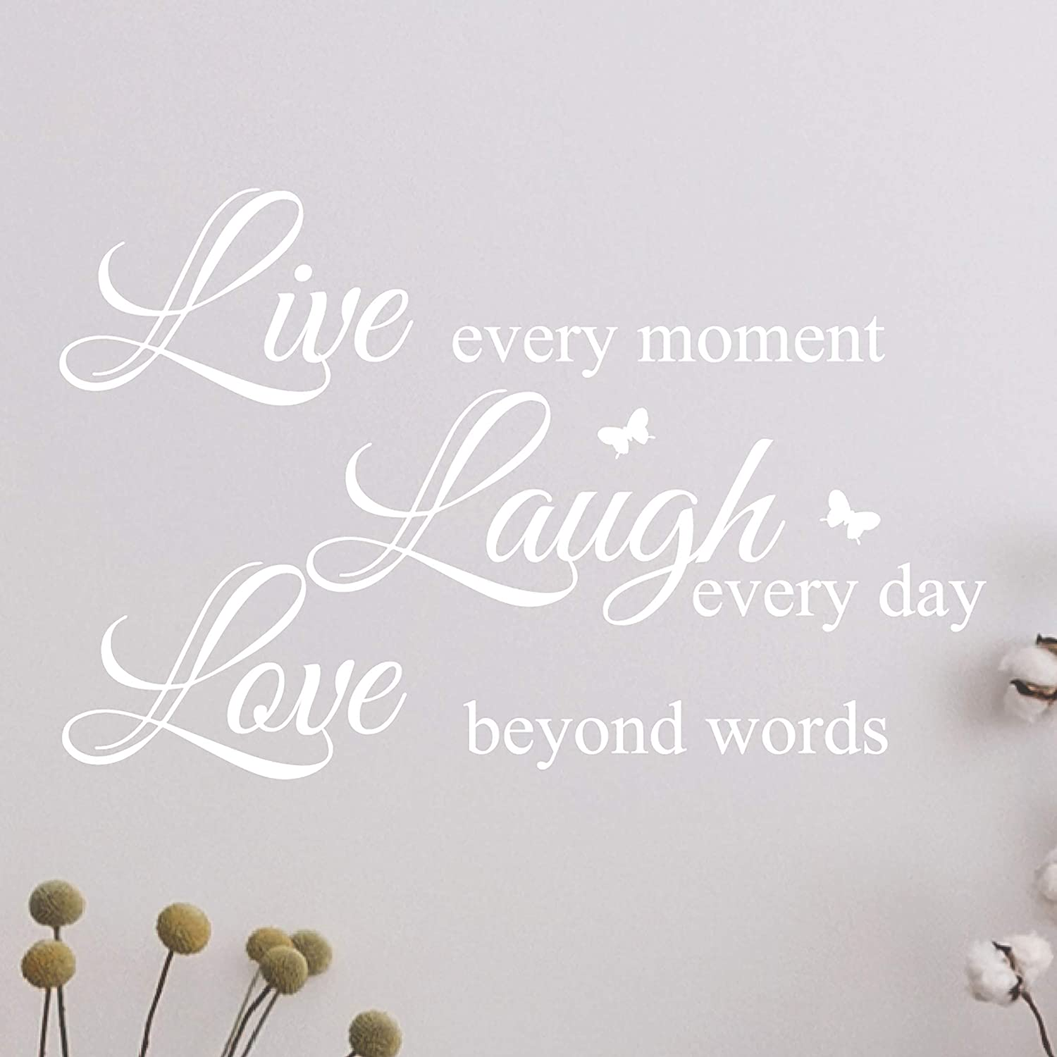 Live Every Moment, Laugh Every Day, Love Beyond Words, Wall Decal Motivational Sticker, Family Inspirational Wall Art Quotes #3081 (20
