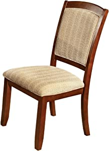 Furniture of America Brahme Padded Fabric Side Chair, Oak Finish, Set of 2