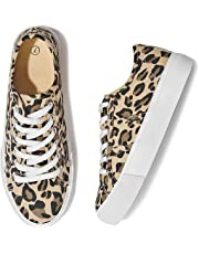 Adokoo Womens Leopard Shoes Platform Sneakers