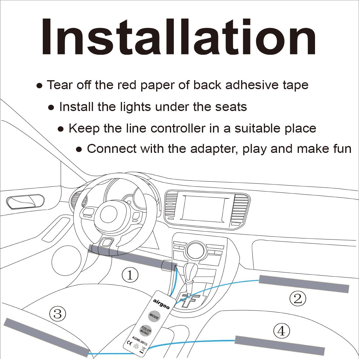 Airgoo Rainbow Car Led Strip Light Color Music Vacuum Wiring Diagram Interior Lights Atmosphere Underdash Lighting Kit With Sound Active Function And Wired
