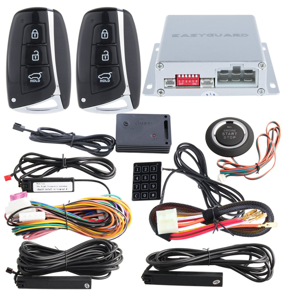 EASYGUARD smart key PKE car alarm system with keyless entry remote engine start stop engine start stop button touch password keypad shock alarm ec002-hy-ns