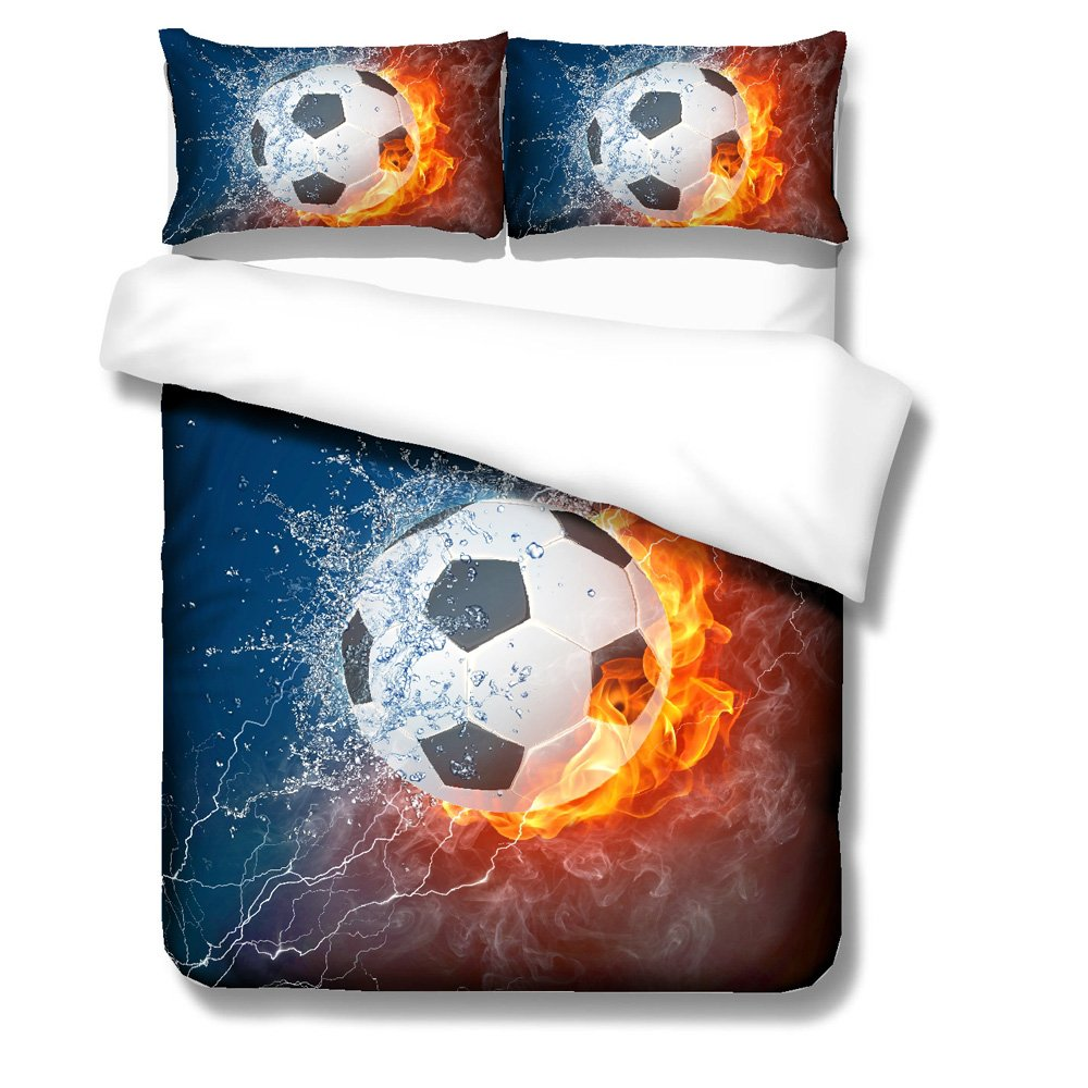 BOMCOM 3D Digital Printing Soccer Ball on Fire & Water with Lightening around on Abstract Background 2-Piece Duvet Cover Sets 100% Microfiber Dark Blue (Fire & Water Soccer Ball, Twin)