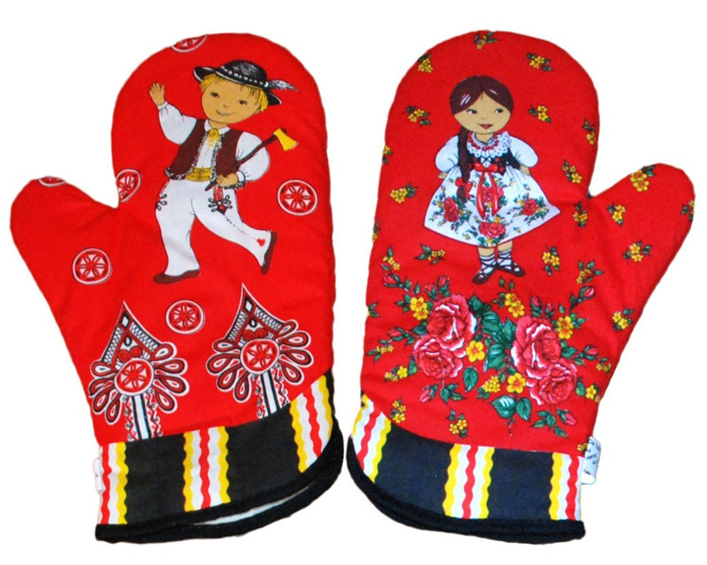 Polish Folk Art Highlander Kitchen 2 Oven Mitts, Red