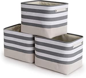 TheWarmHome Foldable Storage Basket with Strong Cotton Rope Handle, Collapsible Storage Bins Set Works As Baby Storage, Toy Storage, Nursery Baskets (Lattice, 3Pack-16L12W12H)
