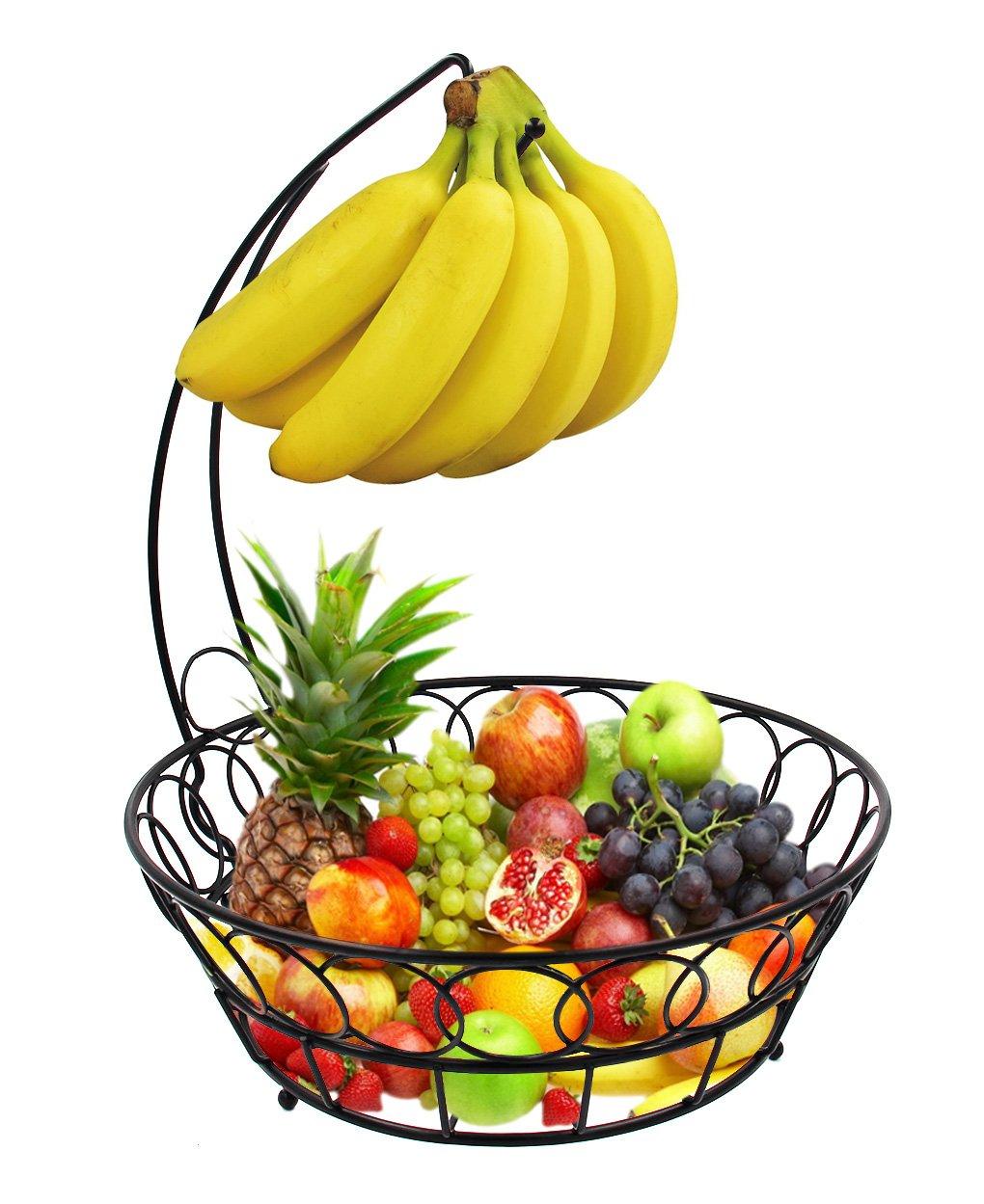 esylife fruit baskets stand wire basket with banana hanger. Black Bedroom Furniture Sets. Home Design Ideas