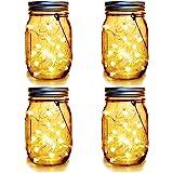 WERTIOO 4 Pack Solar Mason Jars Lights,30 LEDs Hanging Solar Lanterns Garden Decor Outdoor Lights Warm White Table Decor Fair