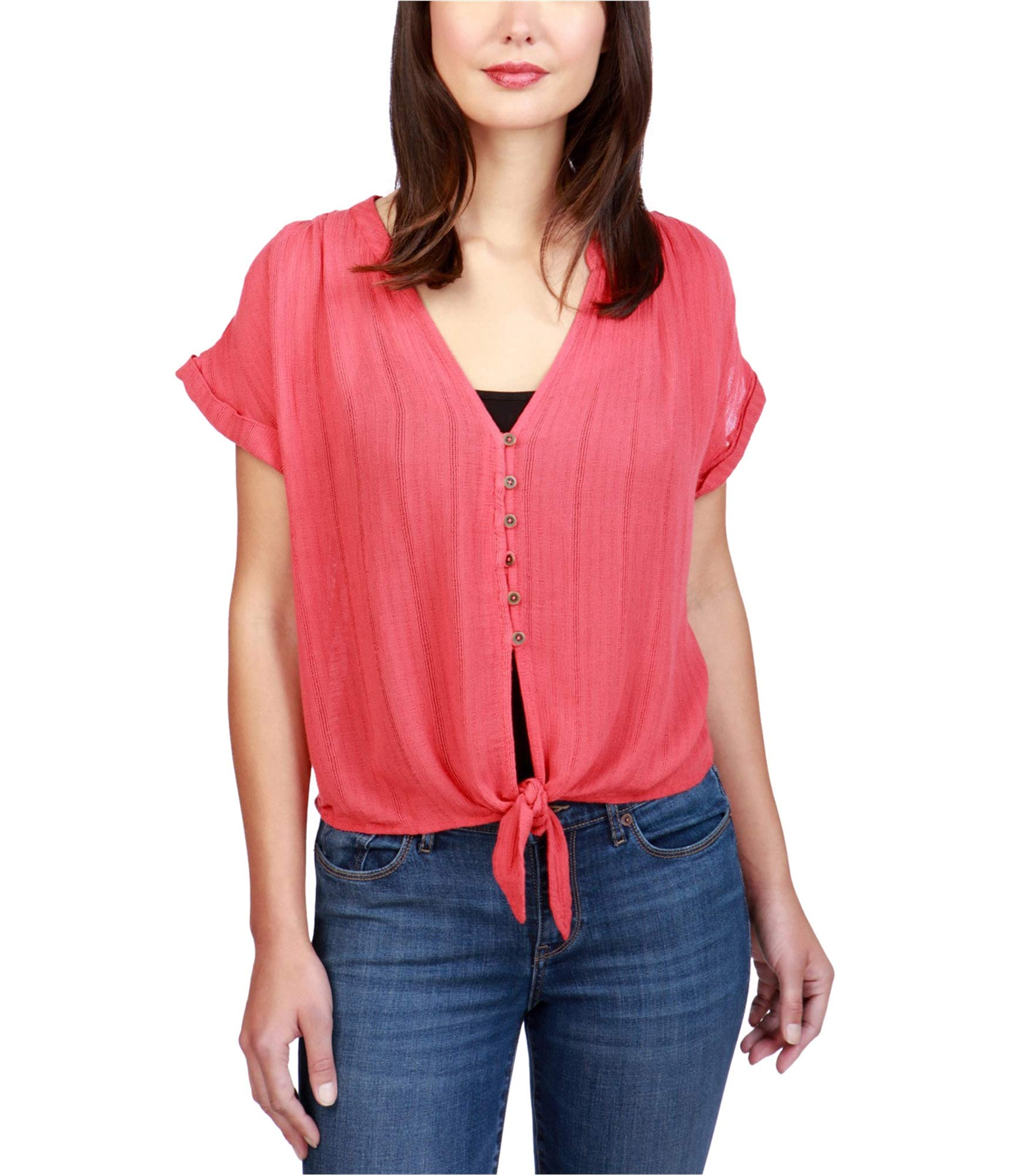 Lucky Brand Women's Woven Tie Front Top, Mars red, Small