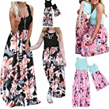 Mommy and Me Dresses (Items are Sold Separately) Summer Casual Floral Family Outfits Matching Maxi Dress