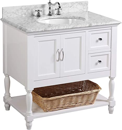 Beverly 36-inch Bathroom Vanity Carrara/White : Includes White Cabinet
