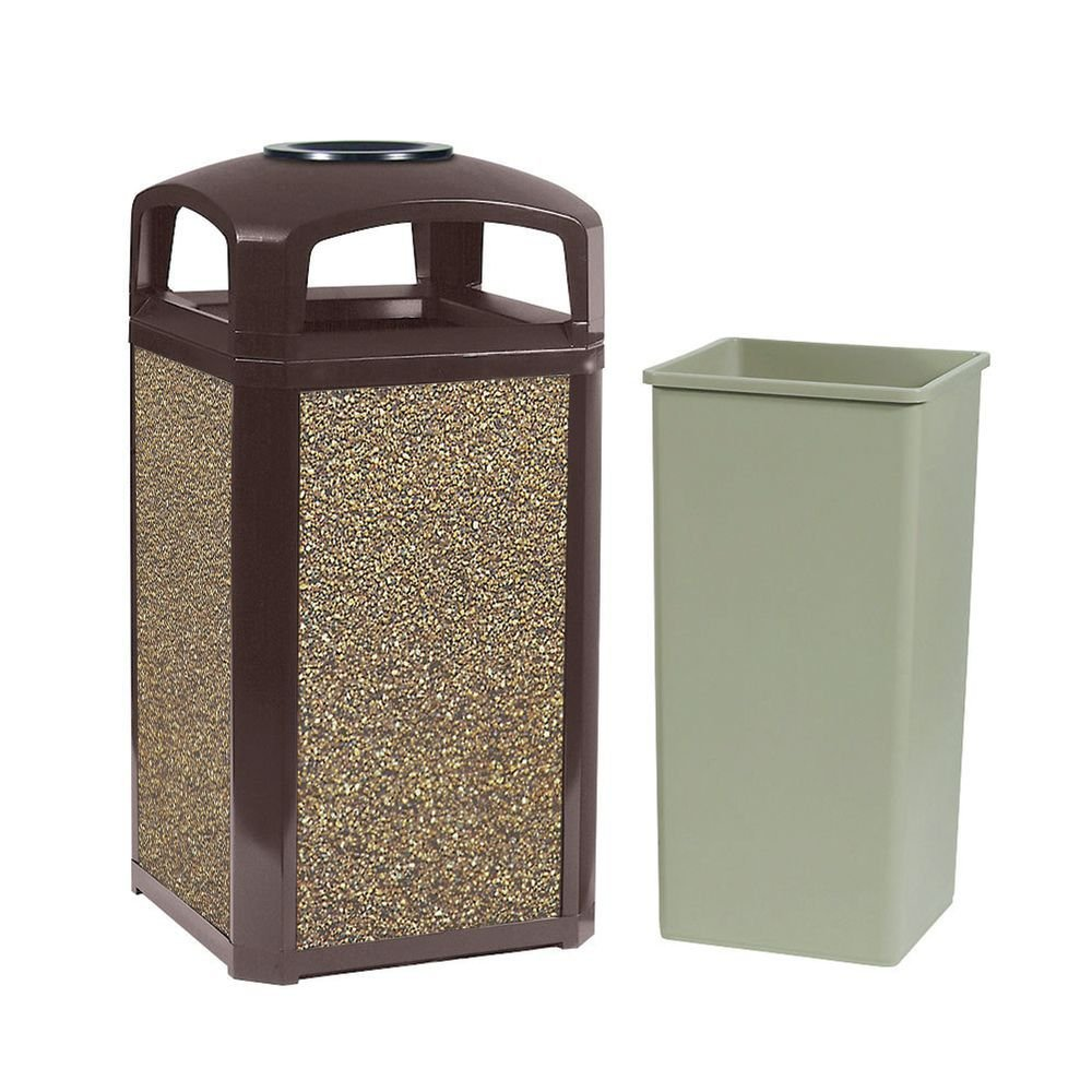 Rubbermaid Landmark Series 45 gal Sable Frame With River Rock Aggregate Panels Trash Receptacle With Dome Top With Ash Tray - 26''L x 26''W x 46 1/2''H