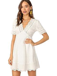 6c6880796da0 Romwe Women's Plunging V Neck Eyelet Scallop Short Sleeve A-line Dress
