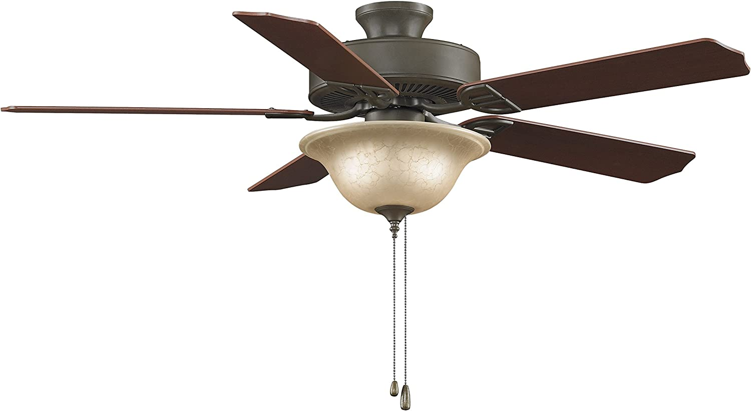 Fanimation Aire Décor - 52 inch - Oil-Rubbed Bronze with Glass Bowl Light Kit - 220v with Pull-Chain - BP220OB1-220