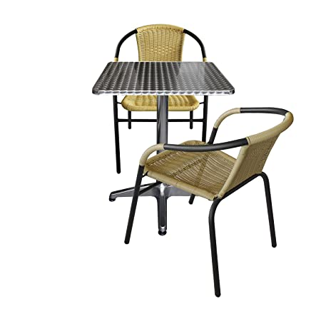 Amazonde Wohaga 3er Set Gartenmöbel Aluminium Bistrotisch 60x60cm