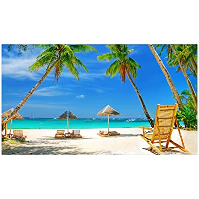 PPzoom Adult Wooden Puzzle 1000 Pieces Beach View Under The Blue Sky Art Paintings: Toys & Games