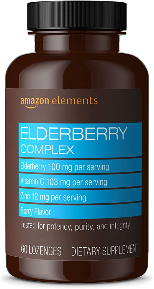 Amazon Elements Elderberry Complex, 60 Berry Flavored Lozenges, Elderberry 100mg, Vitamin C 103mg, Zinc 12mg per Serving (Packaging may vary)