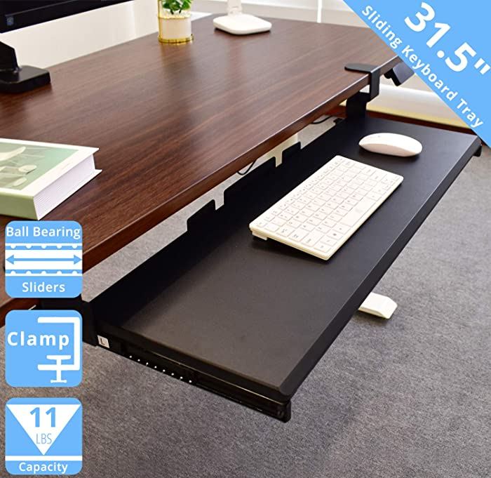 "Seville Classics Airlift 360 Clamp-On Under-The-Desk Sliding Keyboard Tray Extra-Wide Shelf Holder, 31.5"", Black"