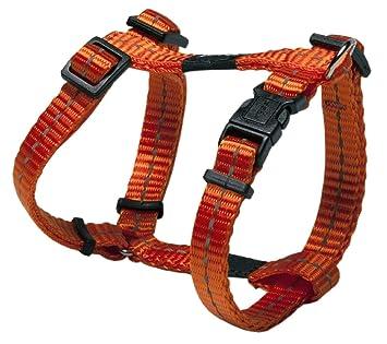 Rogz Woven Reflective Thread Dog H-Harness, Fully Adjustable, Orange