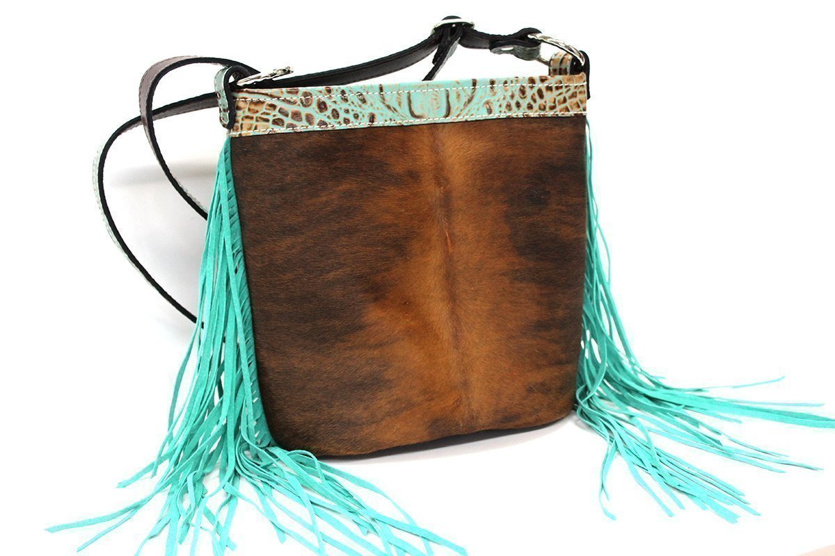 MoonStruck Leather Concealed Carry Purse - CCW Handbags - Brindle Hair-On-Hide with Aqua Fringe - Made in the USA- Bucket