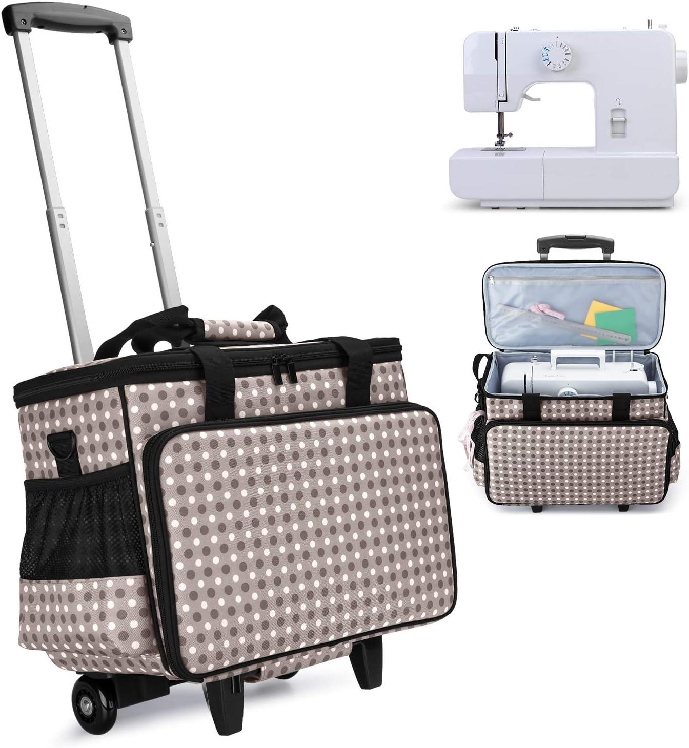 Yarwo Maletas de Transporte para Máquinas de Coser, Bolsa de Trolley para Máquina de Coser con Tablero Duro para apoyar la Parte Inferior, Adecuado para la mayoría de Las máquinas de Coser universales