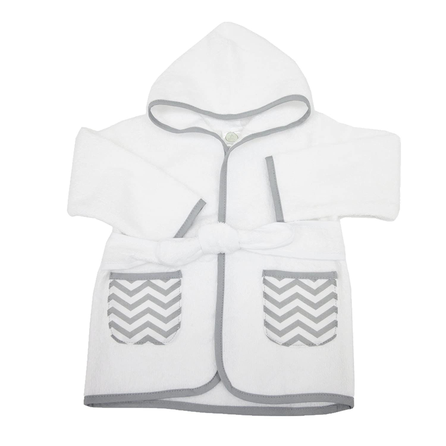 American Baby Company Baby Bathrobe Made with Organic Cotton, White/Gray, 0-9 Months 83200WT-GR