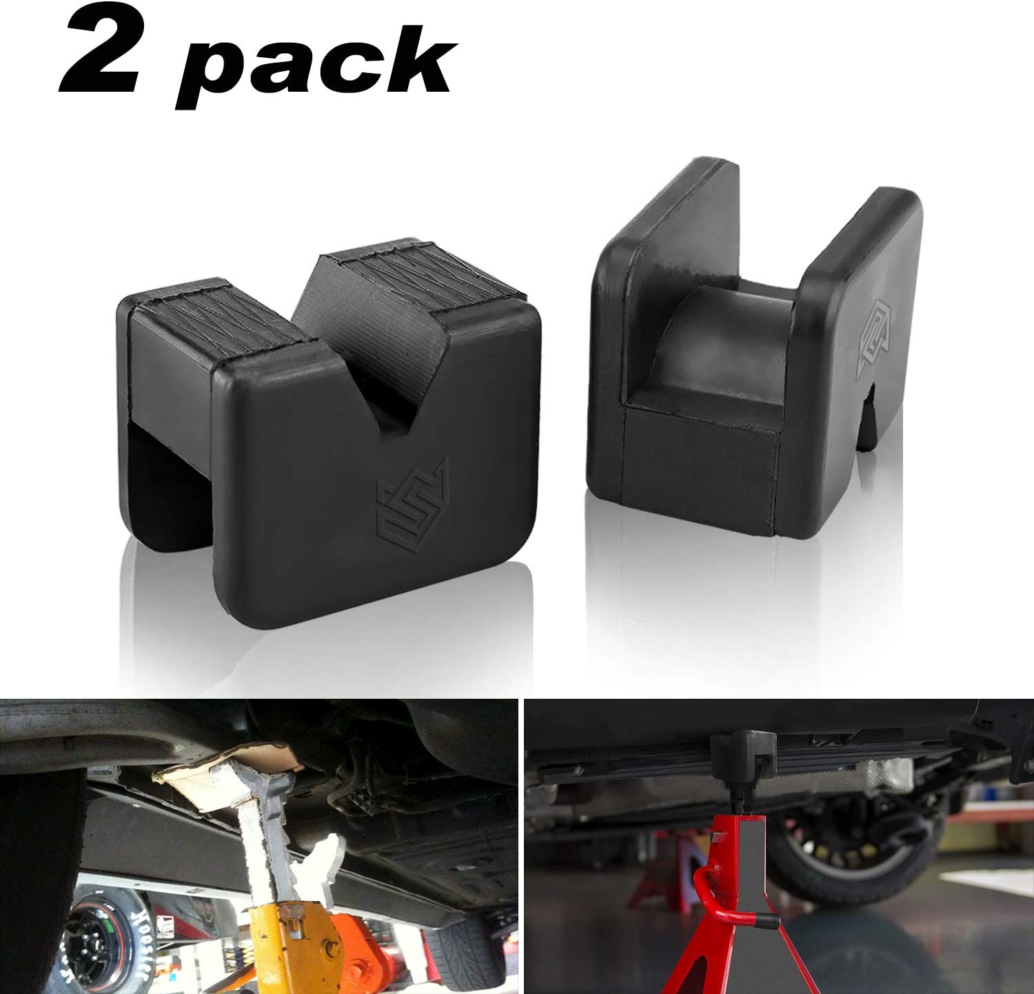 4 Pack Jack Pad Adapter,Car Rubber Jack Stand Pad 2-3 Ton Universal Slotted Frame Rail Pinch Welds Protector for Jack Stand