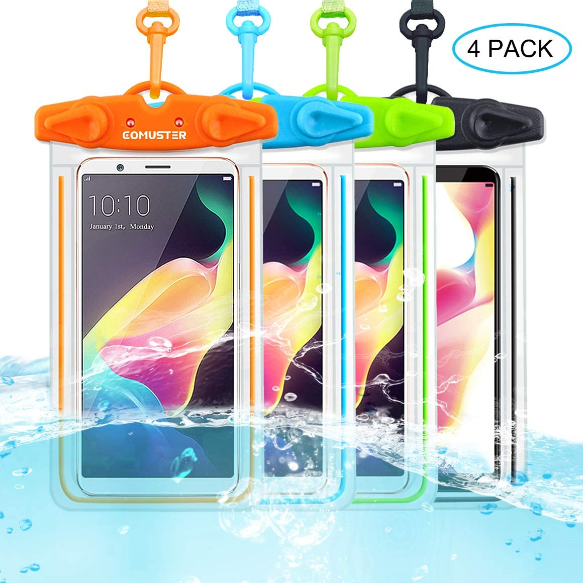 COMUSTER Universal Waterproof Case, 4 Pack IPX8 Underwater Clear Phone Pouch Dry Case Compatible with iPhone 11 Pro Xs Max XR X 8 8P Galaxy Pixel up to 6.5