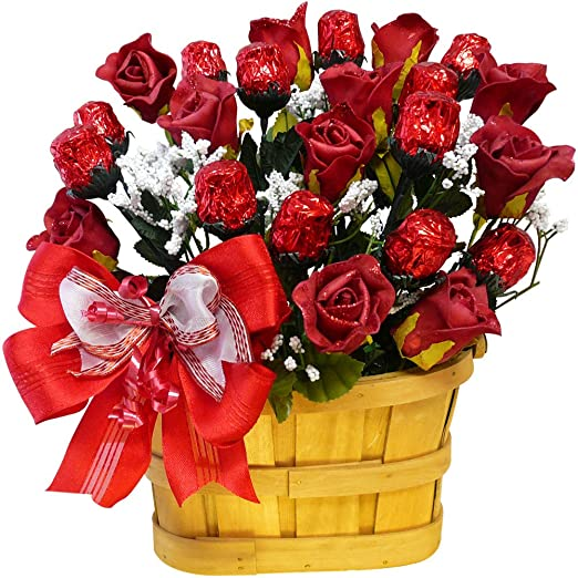 Gift Baskets Sweetheart Candy Bouquet, 1 Dozen Red Chocolate Roses