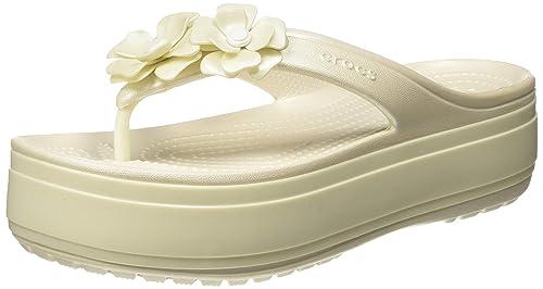 6003b7b5e crocs Unisex s CB Platform Vivid Blooms Flip Off-White Flops Thong ...