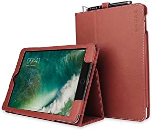 "Snugg iPad Air 3 (2019) / iPad 10.2"" (8th & 7th Gen) / iPad Pro 10.5"" Leather Case, Flip Stand Protective Cover - Dusty Cedar Red"