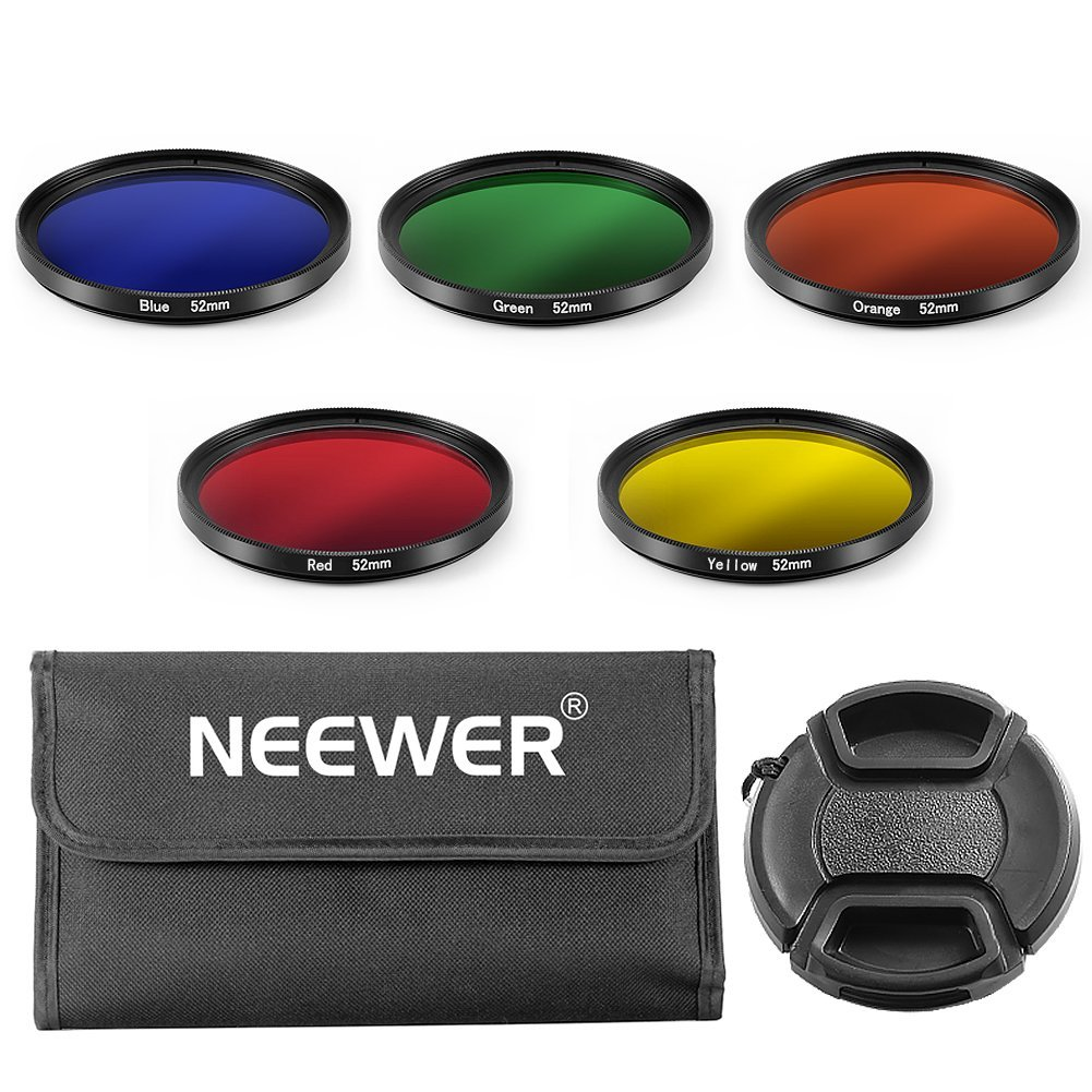 Neewer 52mm Color Filter Kit for NIKON DSLR Cameras, Kit includes: (5) Color Filters(Blue/Yellow / Orange/Red / Green) + (1) Center Pinch Lens Cap with Cap Keeper Leash + (1) Filter Carrying Pouch by Neewer