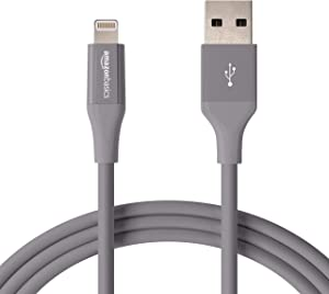AmazonBasics Lightning to USB A Cable, Advanced Collection, MFi Certified iPhone Charger, Grey, 6 Foot, 12 Pack