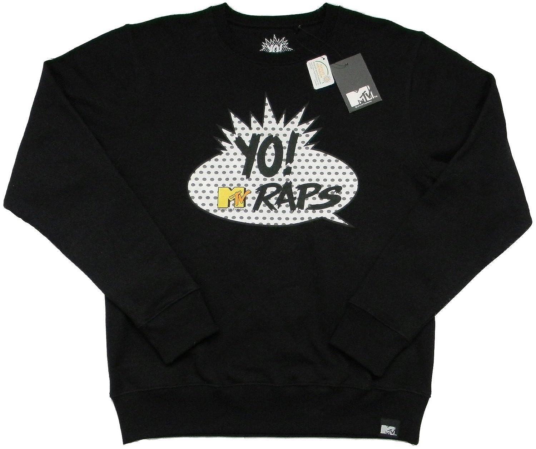 ACTS- MTV, Men'S Crew Round Neck Pullover Yo! MTV Raps Logo, Black, Size: S, M, L, XL