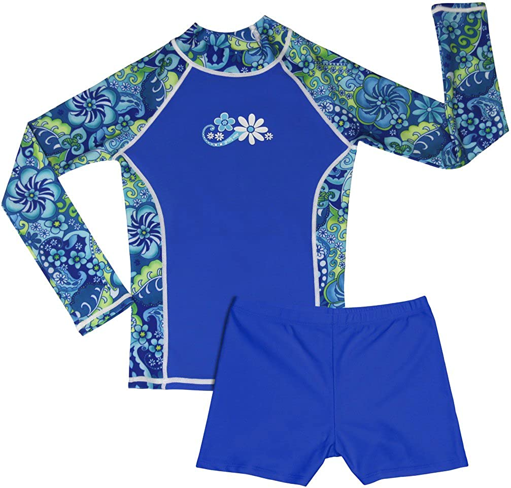 Girls Long Sleeve Rash Guard and Shorts Set grUVywear UV Sun Protective UPF 50