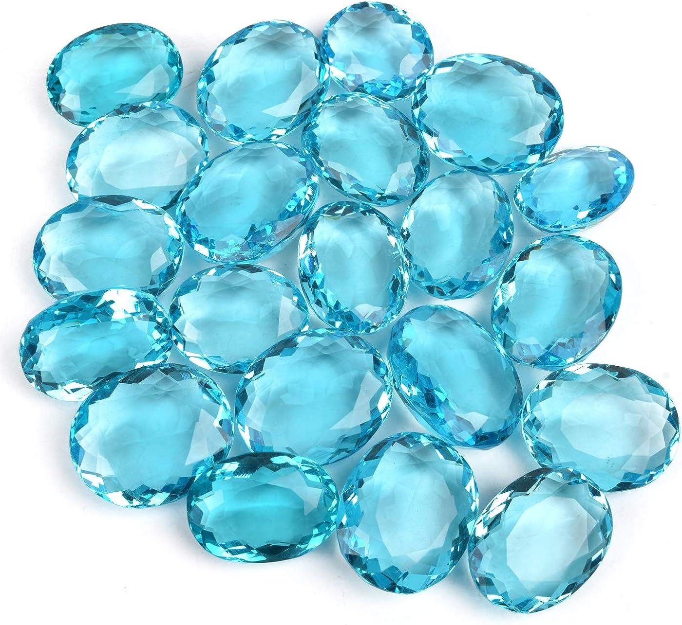 eGemCart Naturel Suisse Bleu Topaze 8X6mm Forme Ovale /À Facettes Coupe en Vrac pour La Fabrication De Bijoux Qualit/é AAA calibr/ée Taille 8X6 mm Pierres Semi-pr/écieuses