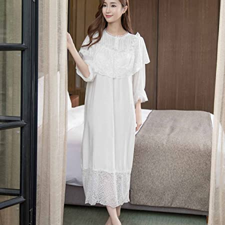 Bathrobes Women s Nightdress Summer Women Short Sleeve Long White Nightdress  Casual Lounge (S cc0f3d84a