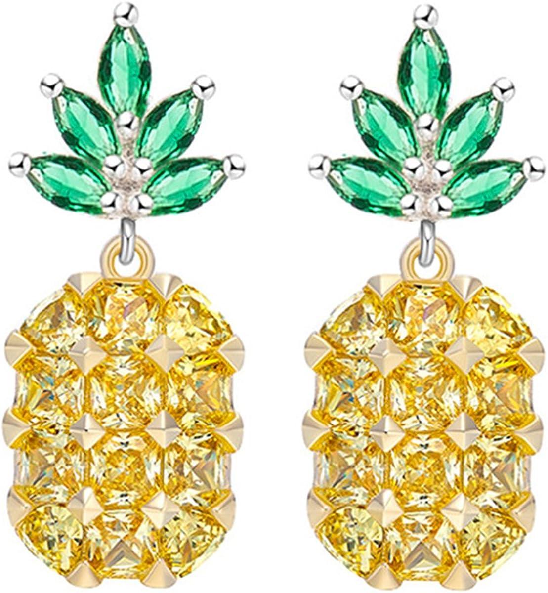 Pendientes Piña Fruta Forma Cristal Strass Piedras