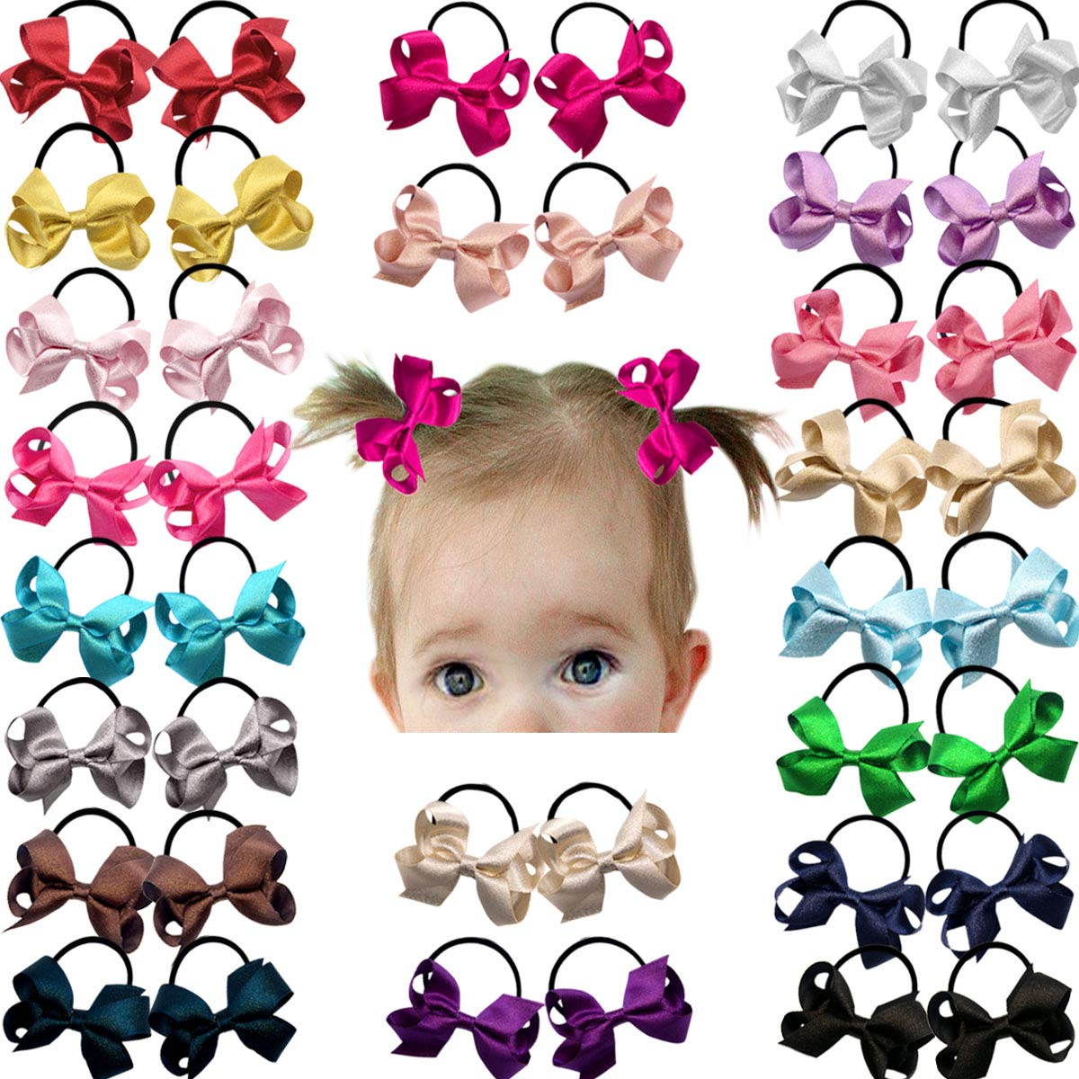 40Pcs Hair Ties Elastic Rope Ponytail Holder Rubber Band for Kids Girls