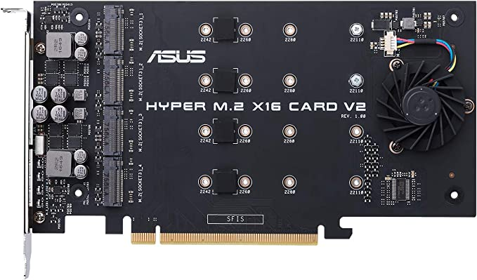 ASUS Hyper M.2 X16 PCIe 3.0 X4 Expansion Card V2 Supports 4 NVMe M.2 (2242/2260/2280/22110) Up to 128 Gbps for Intel VROC and AMD Ryzen Threadripper ...
