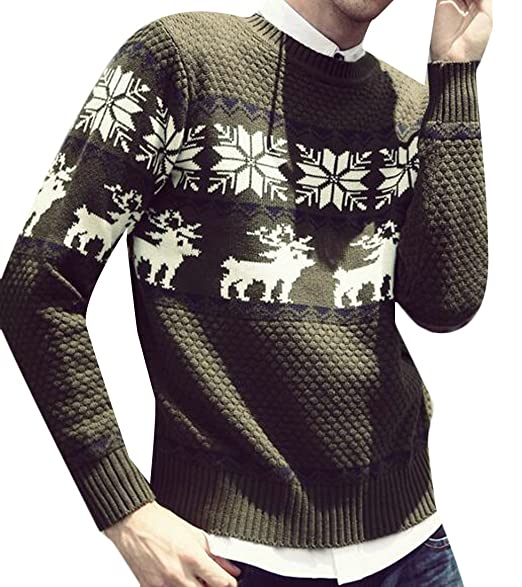 83cd24af5b Sweatwater Men s Casual Slim Crewneck Knit Deer Print Pullover Sweaters  Army Green X-Small