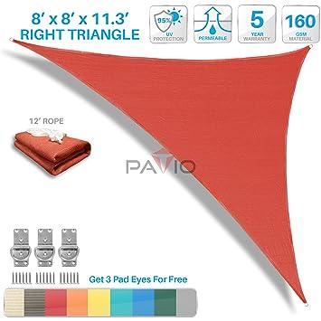 Patio Paradise 8u0027x8u0027x11.3u0027 Red Sun Shade Sail Right Triangle