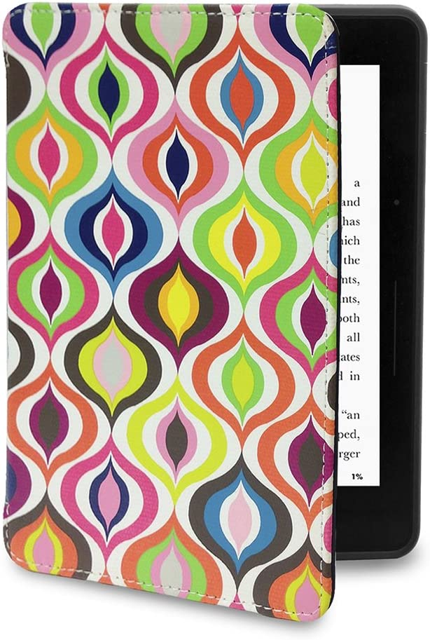 Jonathan Adler Kindle Voyage Case - Bargello Waves Slim Fit Premium Printed Canvas Book Folio Style Protective Case with Auto Sleep/Wake for Amazon Kindle Voyage, Bargello Waves