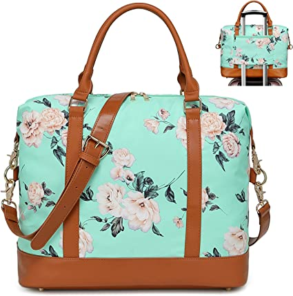 Pink Flowers Travel Carry-on Luggage Weekender Bag Overnight Tote Flight Duffel In Trolley Handle