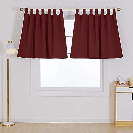 Deconovo Tab Top Valance Blackout Curtains Dark Red W55 X L36 Inch Amazon Co Uk Kitchen Home