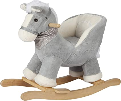 Amazon Com Rock My Baby Baby Rocking Horse Gray With Chair Plush