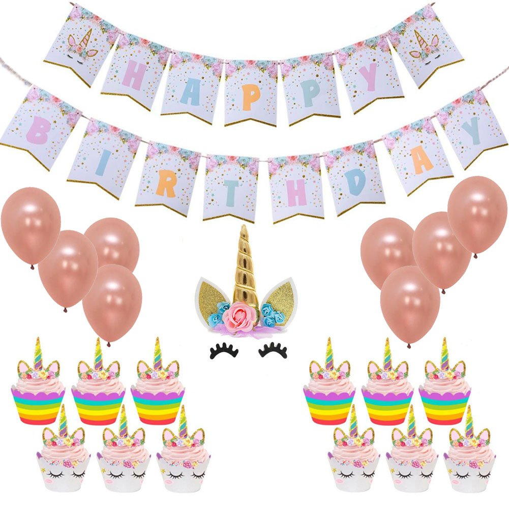 Happy Birthday Unicorn Birthday Party Bunting Banner Rainbow Unicorn Themed Party Favors Decorations