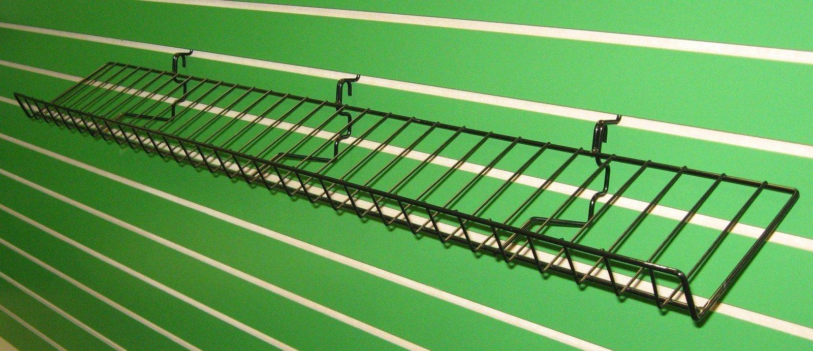 8''D X 46''L Candy Shelf Shelves Rack Slatwall Grid Pegboard Display BLACK Lot of 5 NEW