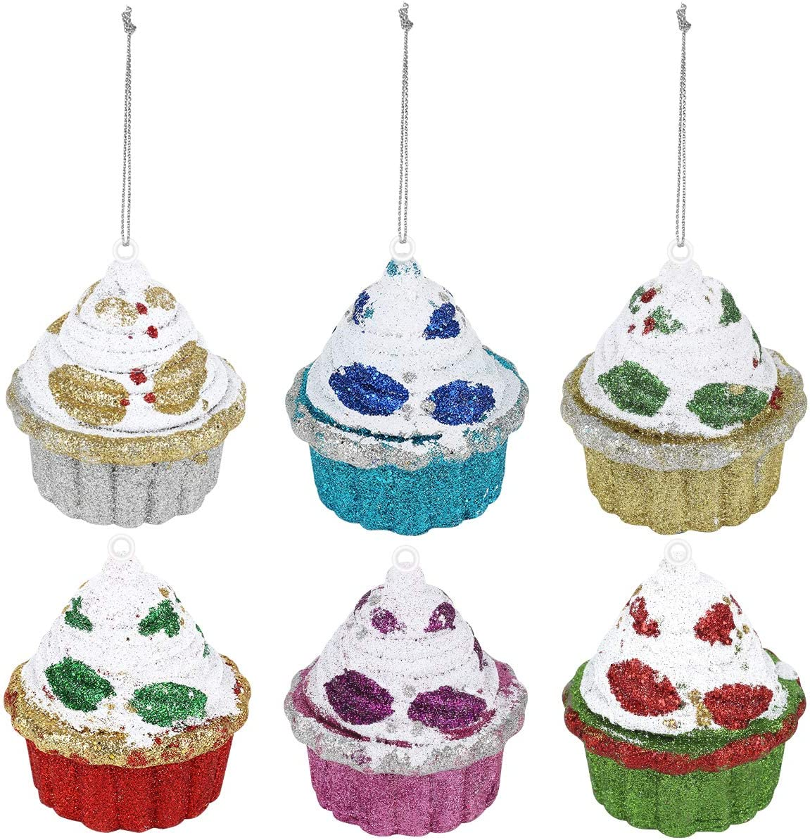 Amazon Com 6 Pieces Christmas Cupcake Ornaments 4 Inches Large Christmas Decorations Tree Balls Glitter Christmas Tree Decor For Holiday Wedding Party Decoration Kitchen Dining